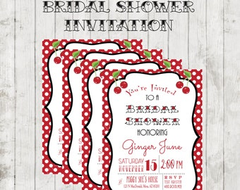 Rockabilly Retro Vintage Inspired Bridal Shower Invite Printable   Bridal  Shower Invitation   Rockabilly