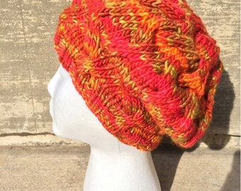 Women's Slouchy Cabled Hand Dyed Merino Wool Hat - Beret, Beanie, Orange, Red, Pink, Yellow, Green, Fall, Light, Warm, Handmade, Knitted