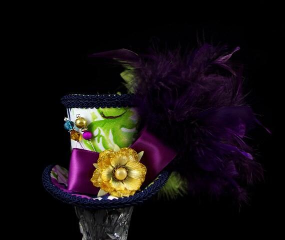 Purple, Blue, Green, Yellow, and White Hawaiian Print Medium Mini Top Hat Fascinator, Alice in Wonderland, Mad Hatter Tea Party, Derby Hat