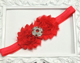 Red Flower Headband, Flower Girl Headband, Red Shabby Headband, Toddler Headband, Newborn Headband, Red Headband, Newborn Photo Prop