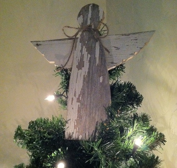 Rustic angel christmas tree topper decoration by for Angel christmas tree decoration