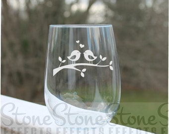 love bird wine glasses, wedding wine glasses, wine glasses, Etched Stemless Wine Glasses, etched wine glass, Wine Glasses, stemless wine gla