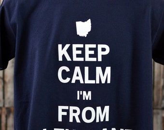 Keep Calm I'm From Cleveland Tee (In Navy)