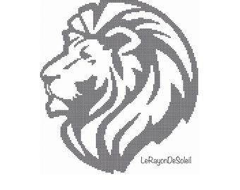 Lion Cross stitch pattern black silhouette.