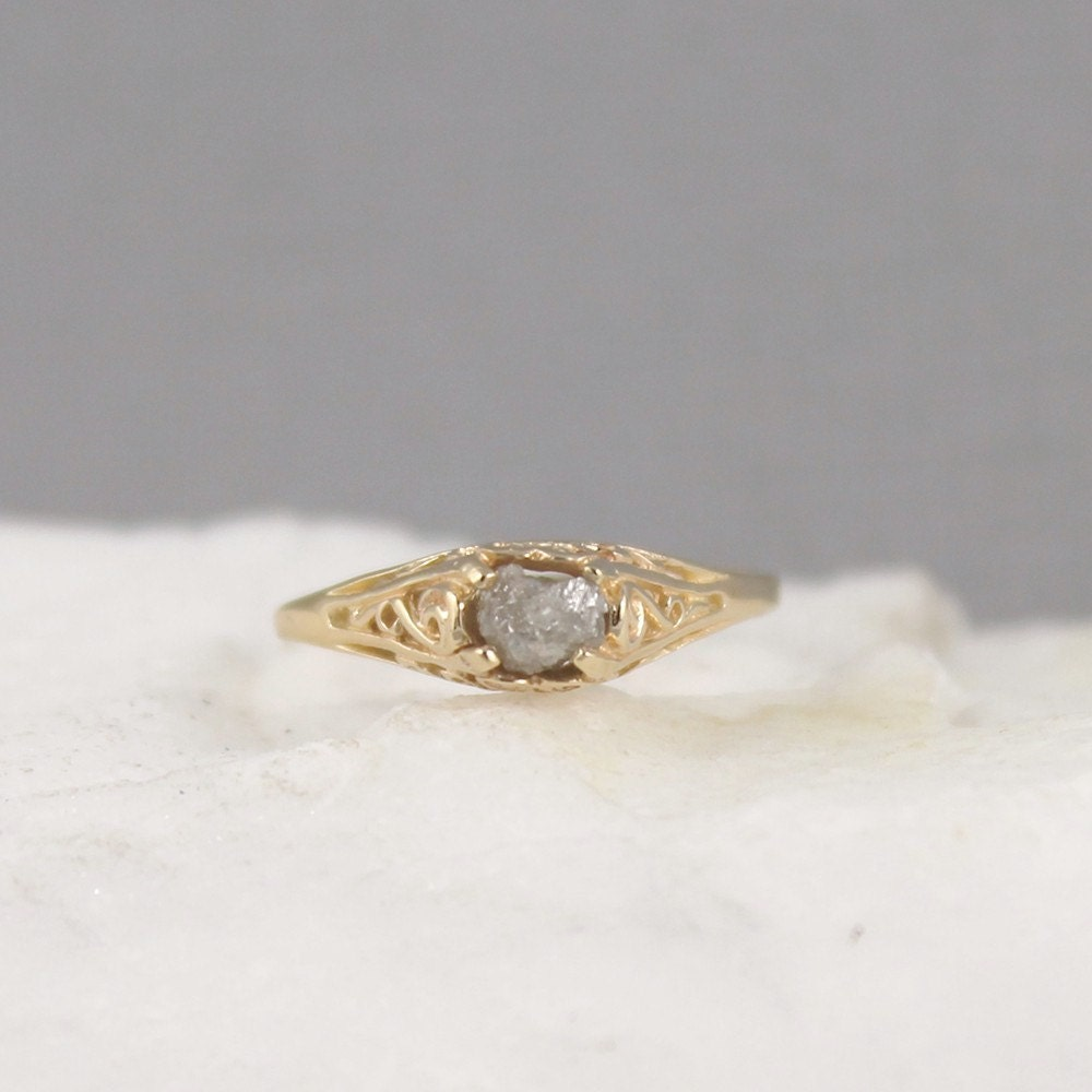 Raw Diamond Engagement Ring 14K Yellow Gold Antique Style