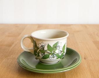 Vintage Hoganas Ceramic Serviso Coffee Cup and Saucer Set Floral