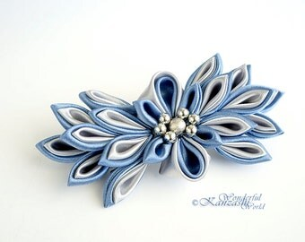 Gray and Blue Tsumami Kanzashi Fabric Flower Barrette