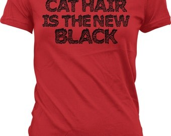 Cat Hair is the new BLACK !!  -  Crazy Cat Lady TShirt  / Crazy Cat Man TShirt - GH_01943