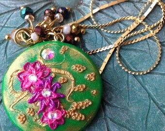 Delicate Floral Pendant on Three Tier Chain