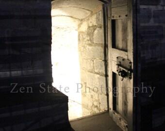 Spooky Photo. Gothic Door Dark Art Night Photography. Ghost Photo Print. Fort Henry Photo. Unframed Print, Framed Print, Canvas Photography.