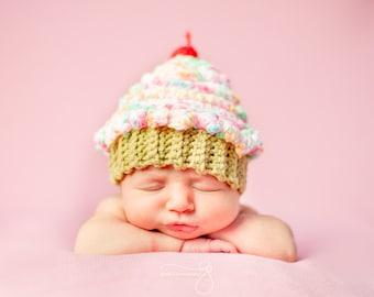 Sweet Lil Cupcake Hat - Newborn Prop - Newborn Girl Prop - Cupcake Prop - Cake Smash Prop - Baby Crochet Hat - Baby Girl Prop