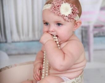 Ivory Lace Headband, Pink Vintage Headband, Baby Headband, Baby Flower Headband, Newborn Headband, Pearl Headband