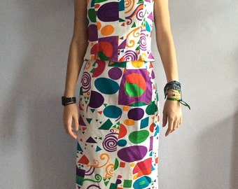 Vintage Louis Féraud suit cotton jacquard suit midi skirt graphic pattern eighties pencil skirt 1980s 80s bustier boning French vintage