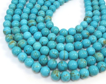 Magnesite Beads, 10mm Teal Blue Magnesite Beads, 16 inch Strand, Jewelry Supplies, Item 332 gsm