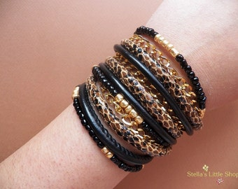 Black Wrap Bracelet, Animal Print Bracelet, Triple Wrap, Beaded Bracelet, Gold Chain