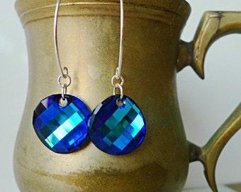 Bermuda Blue Swarovski Earrings Blue Prism Turquoise Teal Blue Aqua Crystal Hoop Swarovski Earrings 925 Silver Multicolour Rainbow Earrings