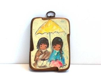 "Vintage De Grazia ""Walk In The Rain Wood Block Wall Art"