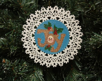 Snowman JOY Tole Painted Christmas Ornament – Holly Berries - Holiday Decoration - Wooden Handmade - Ready to Ship