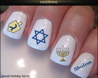 Jewish holiday Set 2 Hanukkah  Nail Decals NAILTHINS nail art