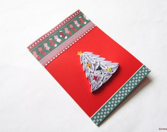 Quilled Christmas Tree Card, Blank x-mas Card, Merry Christmas Card, Holiday Greeting Card, Christmas gift