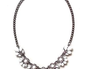 White statement necklace, white bib necklace, gift ideas under 15