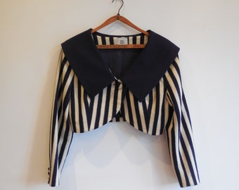 Vintage 80s Navy and Cream Striped Cropped Jacket