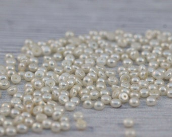 LOT of 2.5-3mm tiny White freshwater pearl loose button cabochon, half drilled hole, DIY jewelry making, pearl supply, 50 / 100 pcs