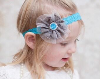 Grey Lace Headband, Turquoise Grey Headband, Gray Turquoise Headband, Grey Flower Headband, Gray Flower Headband, Newborn Photo Prop, Adult