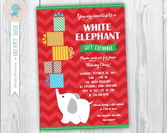 white elephant party  etsy, party invitations