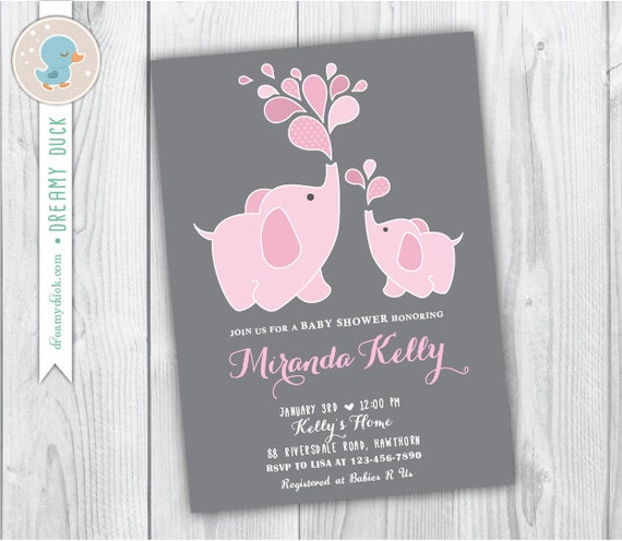 pink elephant baby shower invitation baby shower elephant invitation