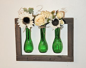 Vintage Green Vases and Reclaimed Wood Frame, Rustic Handmade Wood and Vase Wall Hanging
