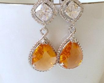 925 sterling silver Orange earrings,bridal earrings,wedding earrings,crystal errings,bridesmaid earrings