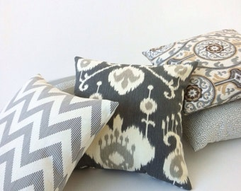 11 Sizes: One Pewter grey and cream INVISIBLE ZIPPER ikat Pillow cover Decorative Throw Pillow Cover 12x18 24x24 20x20 Pillow Cover-K2P3