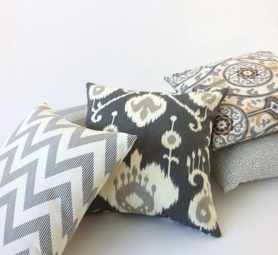Decorative Pillow Covers With Zippers : Ikat Decorative Throw Zipper Pillow Cover in Pewter 18x18 Inch