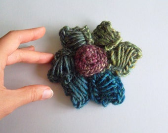 Crochet Flower Brooch in Green, Blue and Purple, Colorful Brooch, Fiber Rose, Knitted Accessories, Lilac Corsage, Whimsical Jewelry