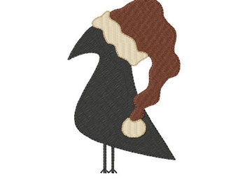 Christmas CROW ~ Machine Embroidery Design in 2 sizes - Instant Download ~ Christmas Raven