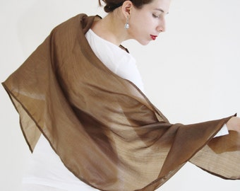 Brown scarf Silk wrap Sheer shawl peace silk scarf silk evening wrap Ahimsa silk scarf Bridesmaid's gift silk evening shawl brown scarf MIA