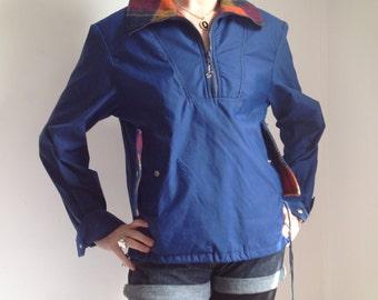 Blue Windbreaker with Wool Details - Large