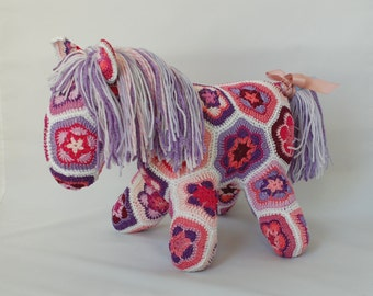 African Flower Crochet Horse, Pink and Purple