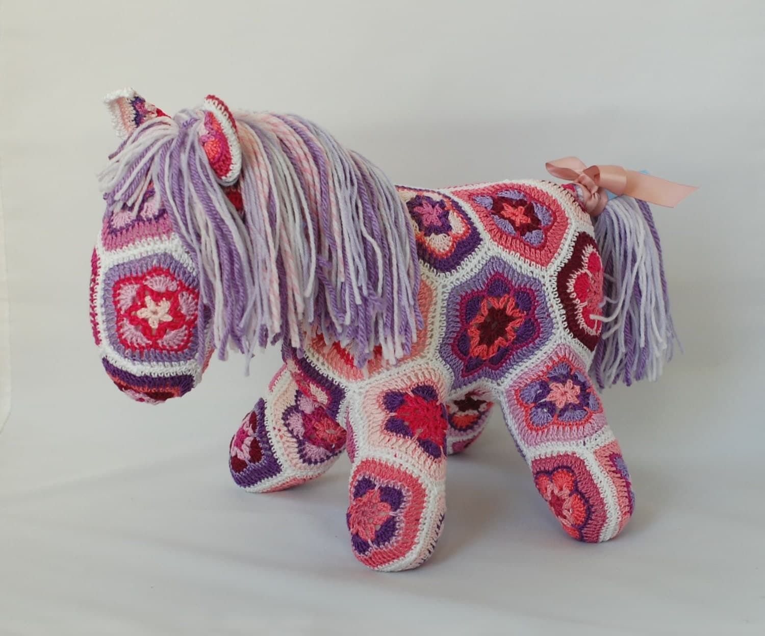 African Flower Crochet Horse Pink and Purple