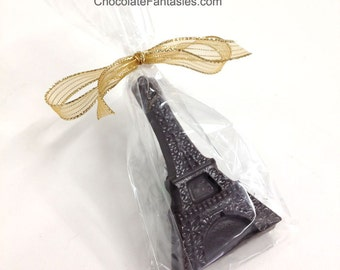 Little Eiffel Tower Chocolate Favor in Any Flavor, One Bagged, Tied wtih Ribbon