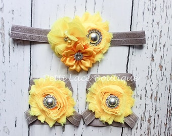 YELLOW/ GREY set,   Barefoot sandals and headband set, headband and barefoot sandals for infants and toddlers.