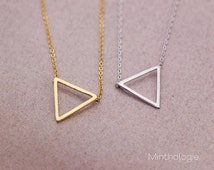 Triangle Necklace N012 / gold silver geo geometric shape minimal arrow layering necklace bridesmaids gift
