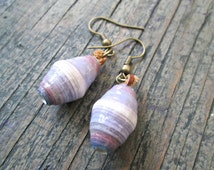 Mauve Paper Bead Earrings - Paper jewelry - Light purple earrings - Eco-friendly jewelry - Upcycled, recycled, repurposed - Pastel purple