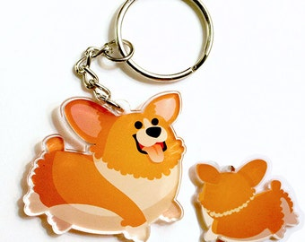 Cute Corgi Keychain, kawaii Phone Charm, dog lovers, pembroke welsh corgi, cardigan welsh corgi, corgis,