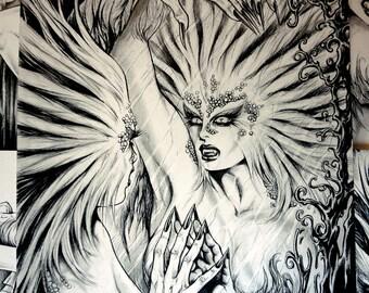 Original Nik Guerra art illustration / Mistery Creature / Mixed Media drawing sexy cartoon pinup  black white diva comics hippie woods shock