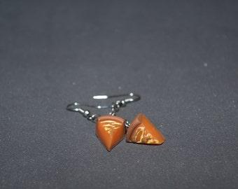 Polymer clay earrings Orange earrings Pumpkin pie earrings cake earrings Dangle earrings Petit earrings Spring earrings Food earrings