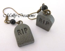RIP tombstone earrings polymer clay