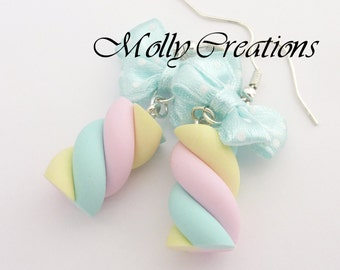 marshmallow candy earrings in polymer clay
