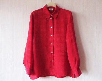 Red Women Blouse Long Sleeve Button up Shoulder Pads Plaid Red Shirt Secretary's Size Medium